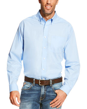 Ariat Men's Light Blue Wrinkle Free Button Up Shirt , Light Blue, hi-res