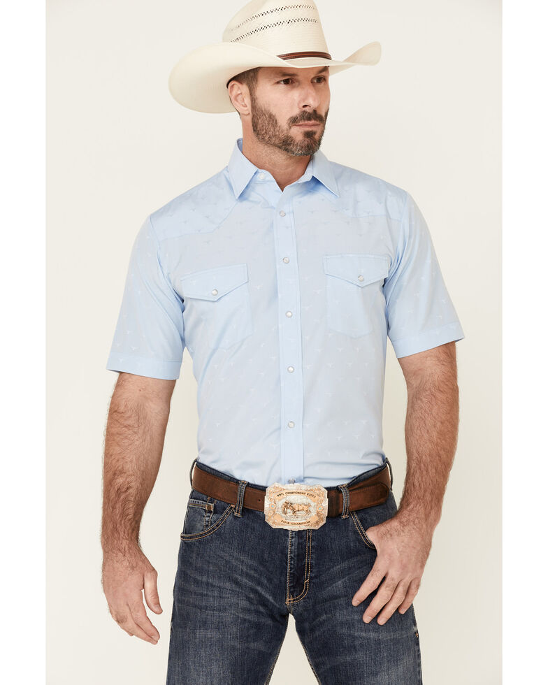 Roper Men's Classic Solid Tone-On-Tone Short Sleeve Snap Western Shirt , Blue, hi-res