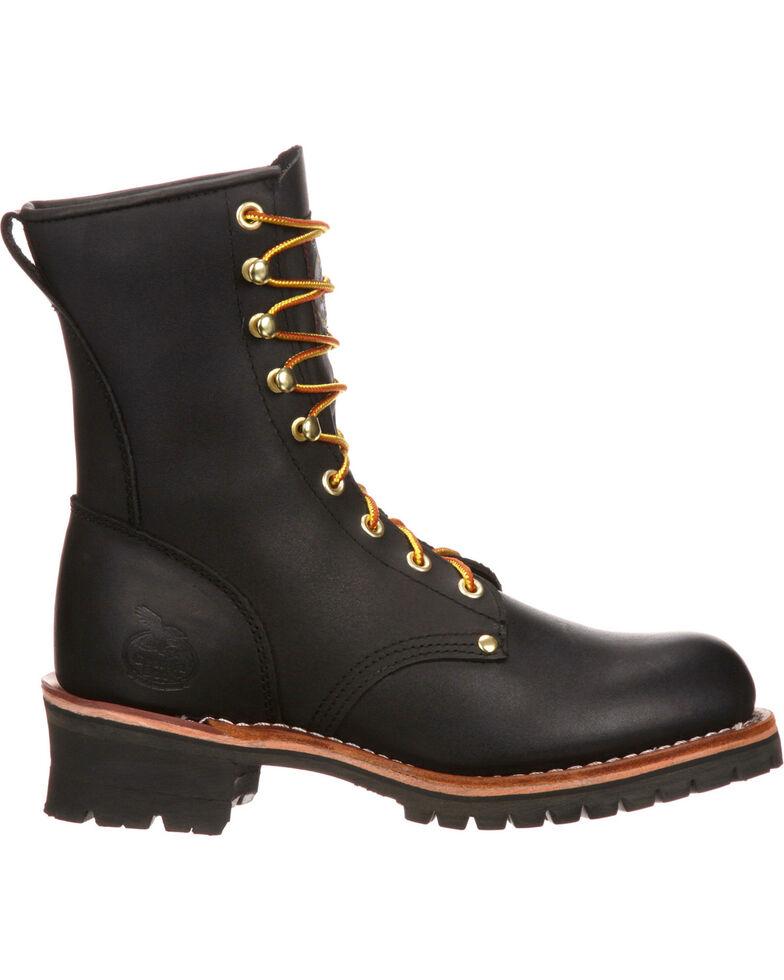 """Georgia Men's 8"""" Steel Toe Logger Boots, Black, hi-res"""