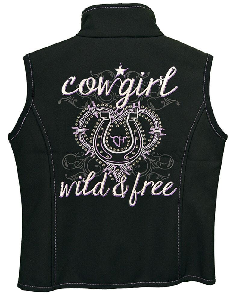 Cowgirl Hardware Girls' Black Wild & Free Vest, Black, hi-res