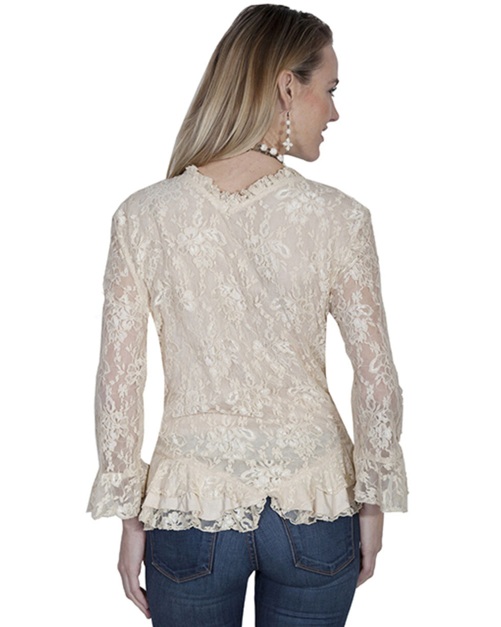 Honey Creek by Scully Women's Camel Lace Long Sleeve Blouse, Camel, hi-res