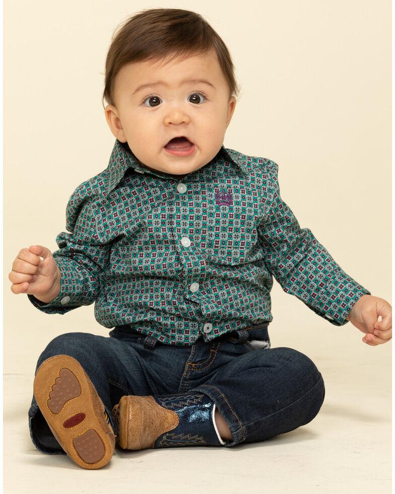 Cinch Infant Boys' Green Geo Print Button Long Sleeve Western Shirt , Green, hi-res