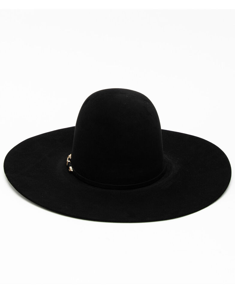 Rodeo King 60X Black Felt Flat Western Hat , , hi-res