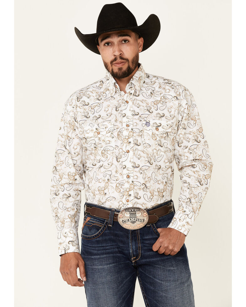 George Strait By Wrangler White Paisley Print Long Sleeve Snap Western Shirt - Tall, White, hi-res