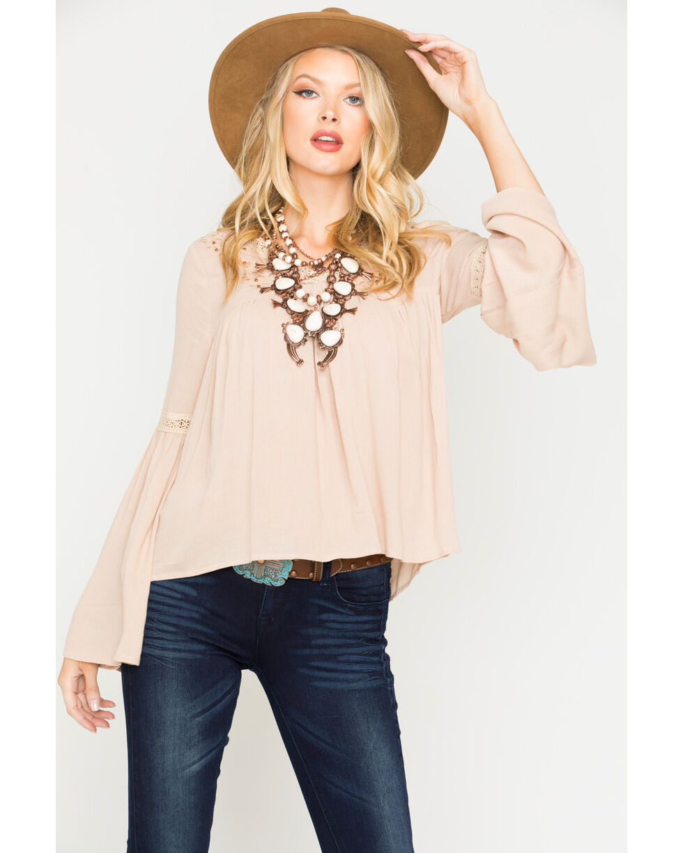 Sadie & Sage Women's Tan Camille Peasant Blouse , Tan, hi-res