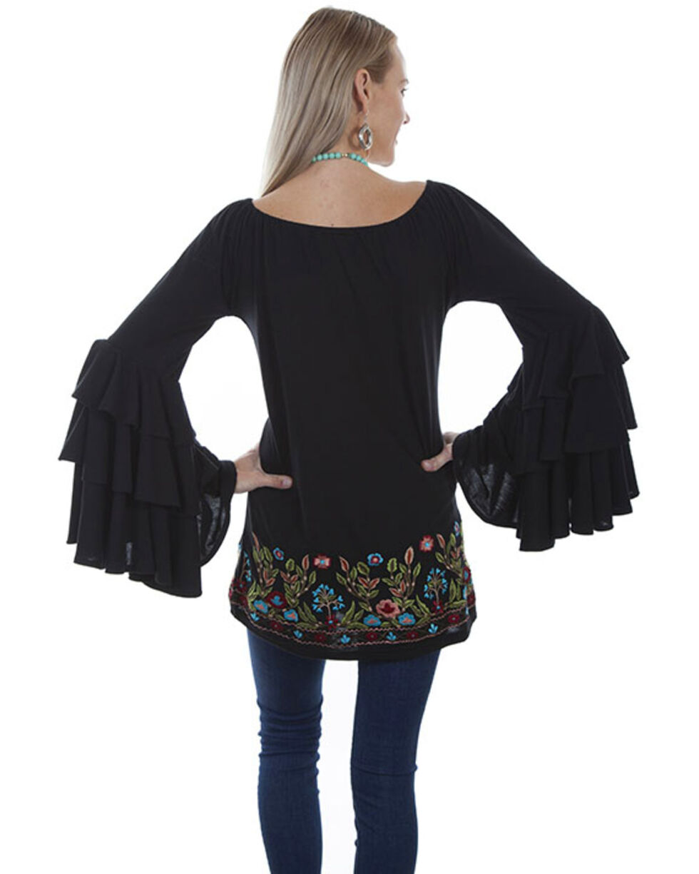 Honey Creek by Scully Women's Ruffled Sleeve Tunic Top , Black, hi-res