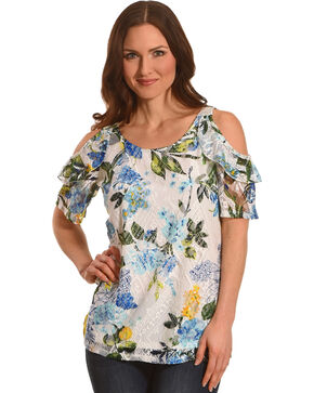 Harlow & Rose Women's Blue Floral Printed Top , Blue, hi-res