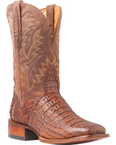 El Dorado Men's Handmade Caiman Back Brass Stockman Boots - Square Toe, Bronze, hi-res
