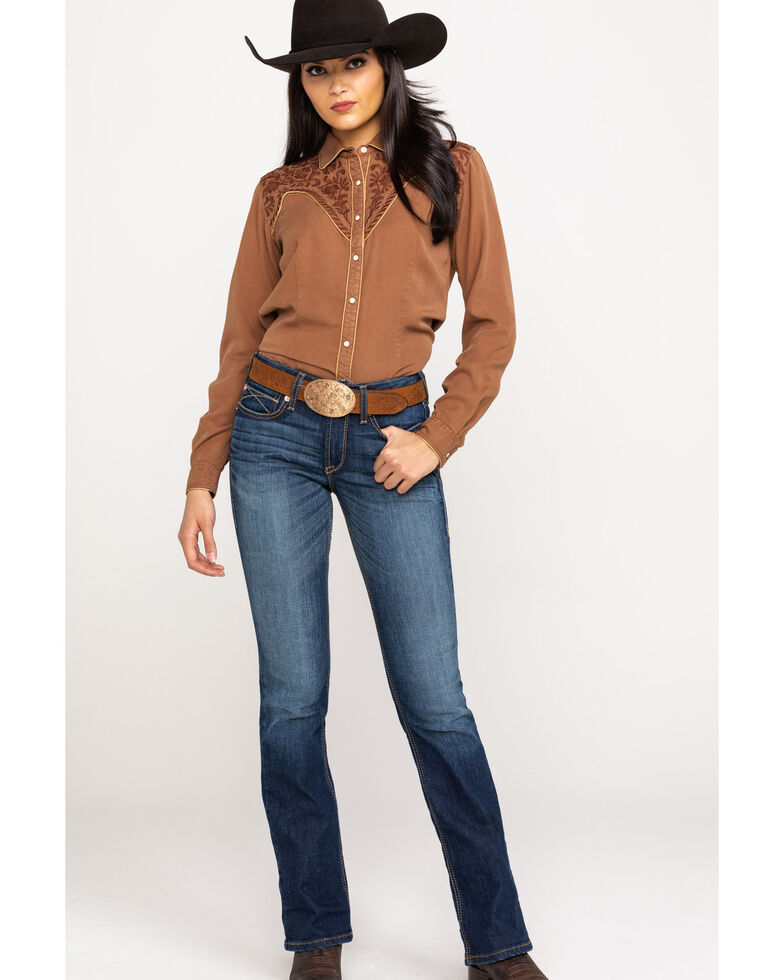 Rough Stock by Panhandle Women's Brown Escalante Long Sleeve Shirt, Brown, hi-res