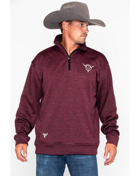 Cowboy Hardware Men's Poly Cadet Barbed Skull Pullover, Burgundy, hi-res