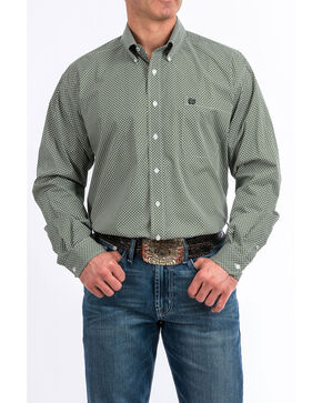 Cinch Men's 3X Geo Print Long Sleeve Western Shirt , Green, hi-res