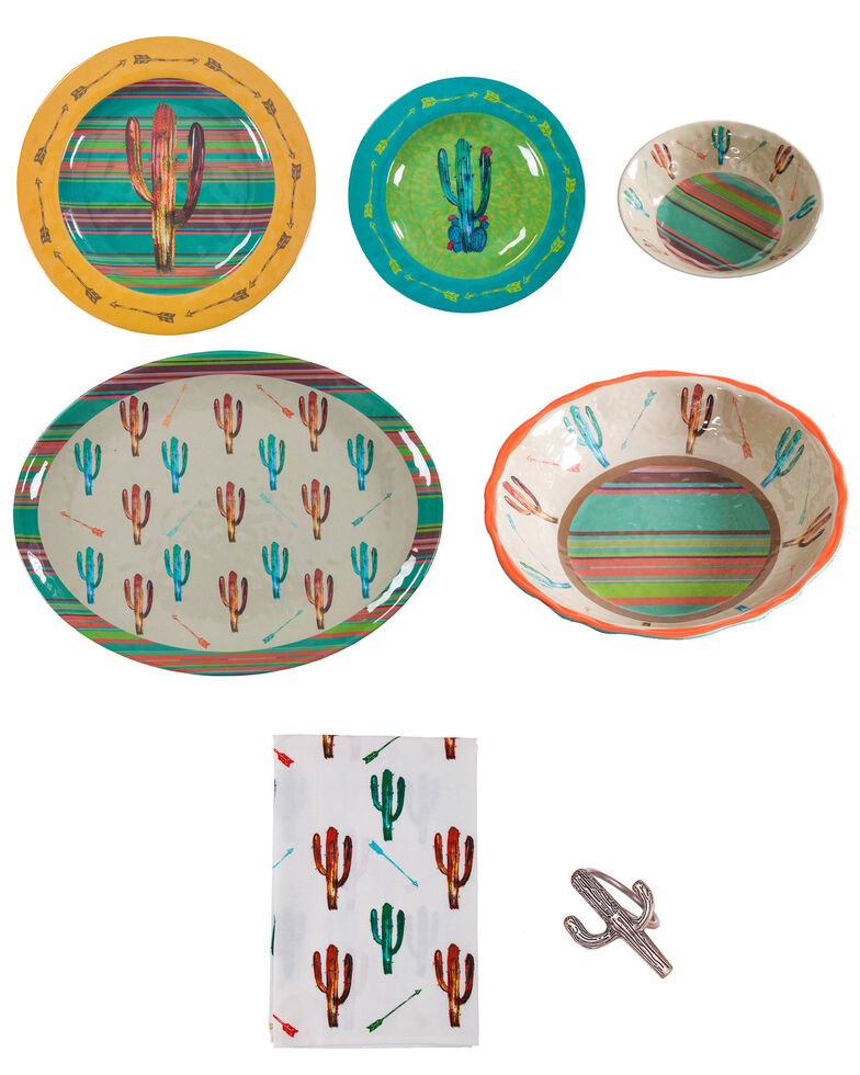HiEnd Accents Cactus Melamine 25pc Dinnerware Set, Multi, hi-res