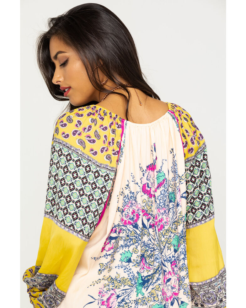 Free People Women's Positano Printed Off The Shoulder Blouse, Peach, hi-res