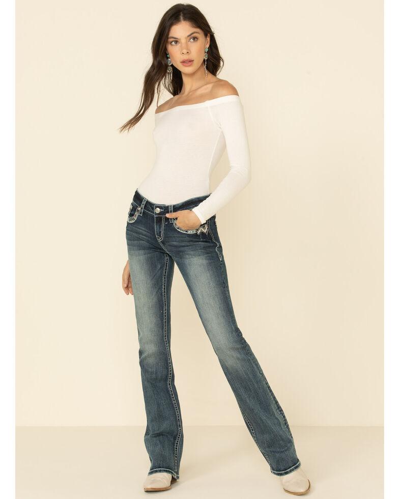 Grace in LA Women's Chevron Border Bootcut Jeans, Blue, hi-res