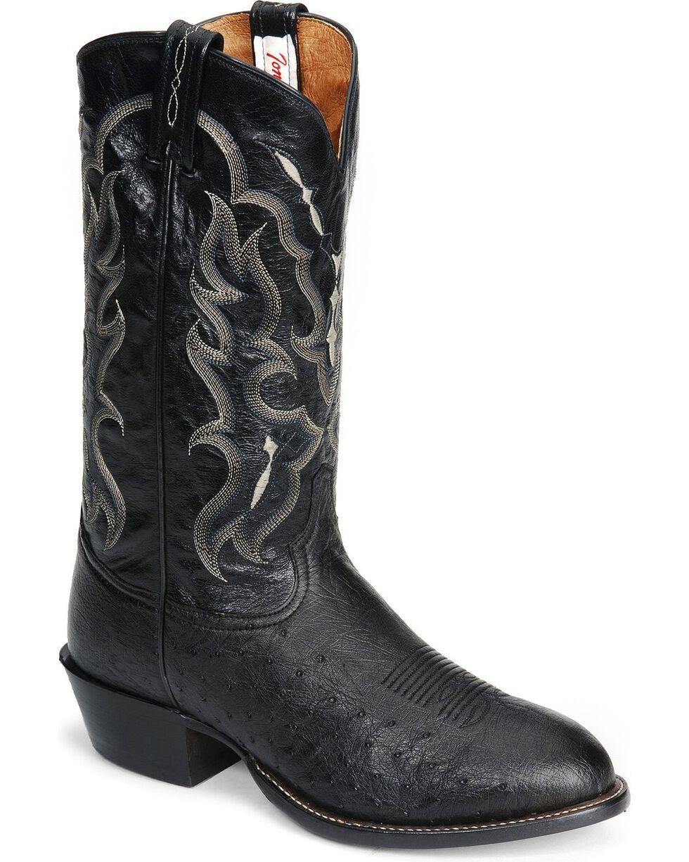 Mens Black Genuine Smooth Ostrich Leg Western Leather Cowboy Boots Roper Toe