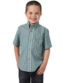 Wrangler Riata Boys' Plaid Short Sleeve Western Shirt , Multi, hi-res