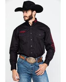 Wrangler Men's Black Solid Logo Long Sleeve Western Shirt , Black, hi-res