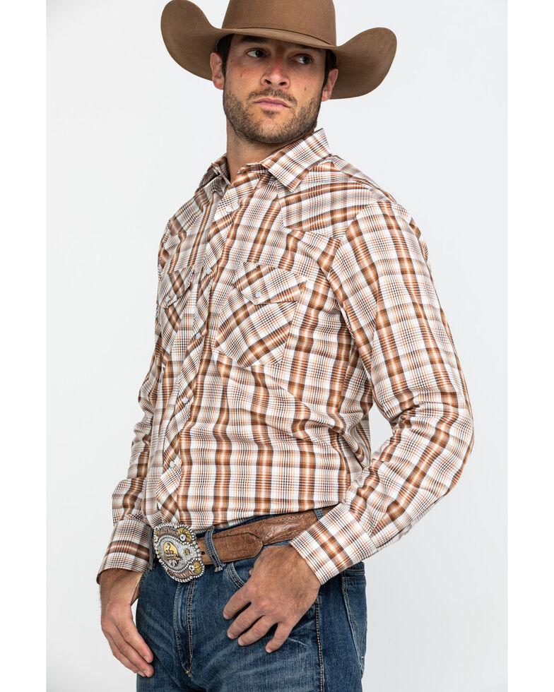 Roper Men's Classic Small Plaid Long Sleeve Western Shirt, Brown, hi-res
