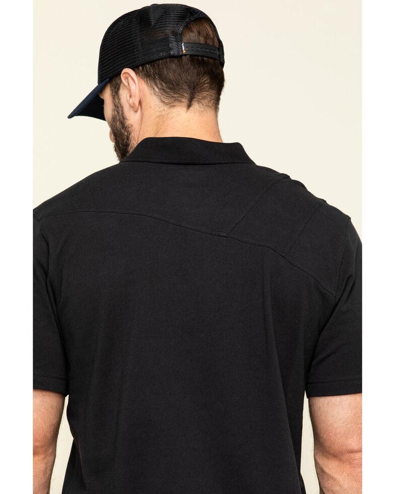 Hawx Men's Black Miller Pique Short Sleeve Work Polo Shirt - Big , Black, hi-res
