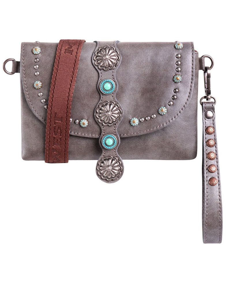 Montana West Women's Concho Crossbody Bag, Grey, hi-res