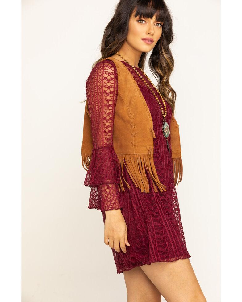 Wrangler Women's Burgundy Ruffle Sleeve Lace Dress, Burgundy, hi-res