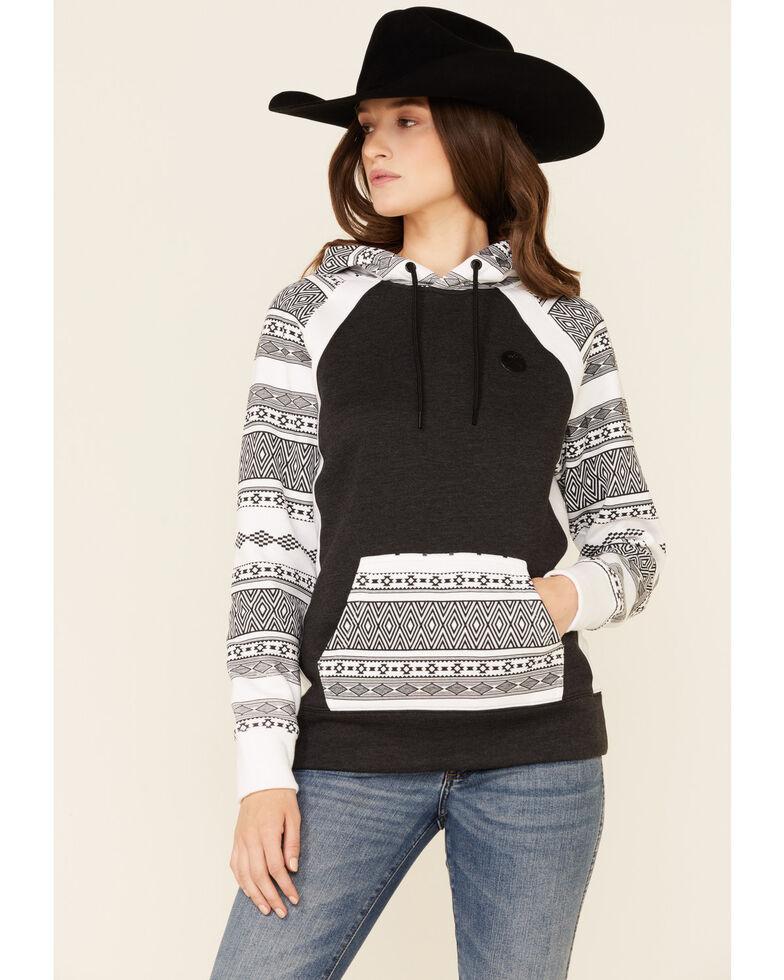 HOOEY Women's Aztec Contrast Hoodie , Charcoal, hi-res