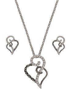 Montana Silversmiths Women's Woven Hearts Jewelry Set, Multi, hi-res