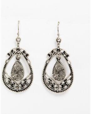 Shyanne Women's Slate Sparkle Crystal Drop Filigree Earrings, Slate, hi-res