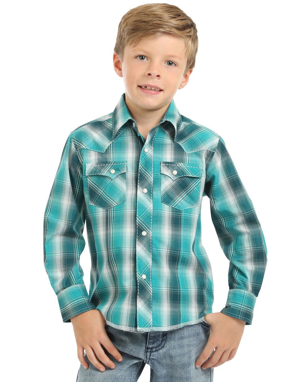 Wrangler Boys' Emerald Plaid Long Sleeve Western Shirt , , hi-res