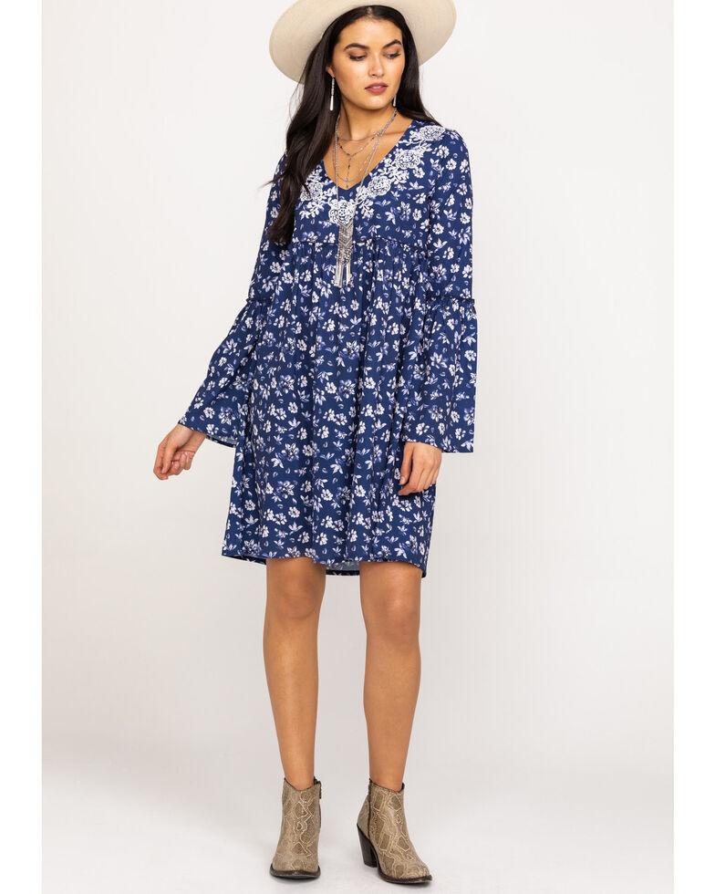 Roper Women's Navy Floral Print Dress, Blue, hi-res