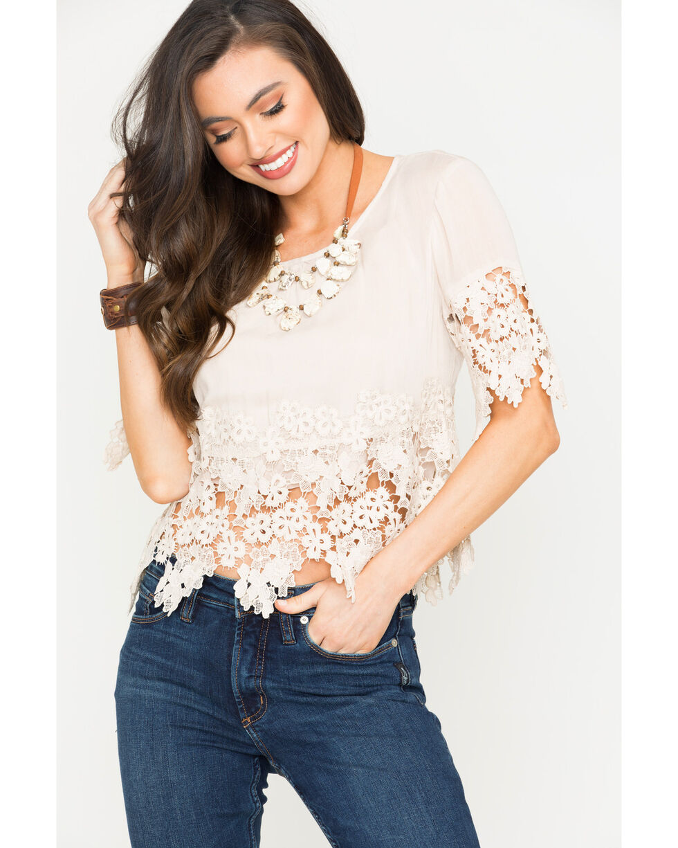 Blush Noir Women's Floral Lace Top , Tan, hi-res