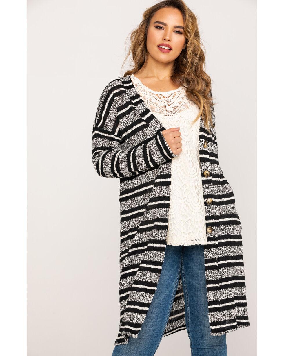 Eyeshadow Women's Striped Sweater Duster - Plus , Heather Grey, hi-res