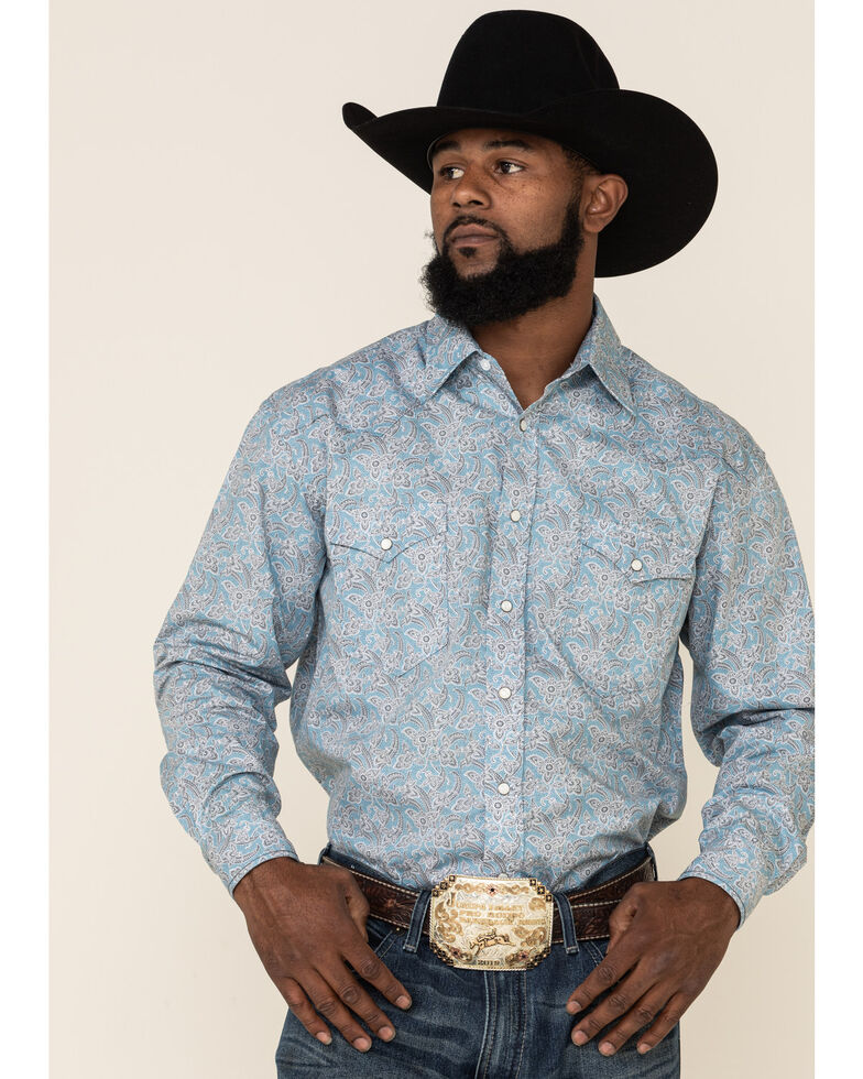 Rough Stock By Panhandle Men's Montague Vintage Floral Print Long Sleeve Snap Western Shirt, Light Blue, hi-res