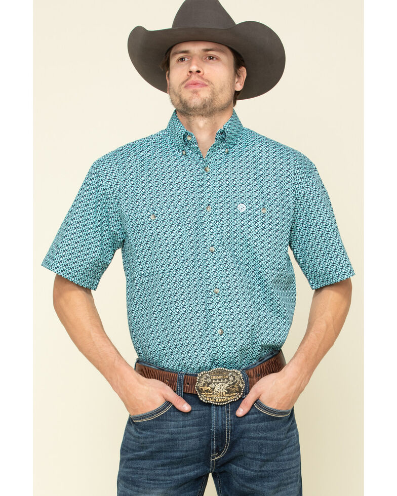 George Strait By Wrangler Men's Turquoise Small Geo Print Short Sleeve Western Shirt , Turquoise, hi-res