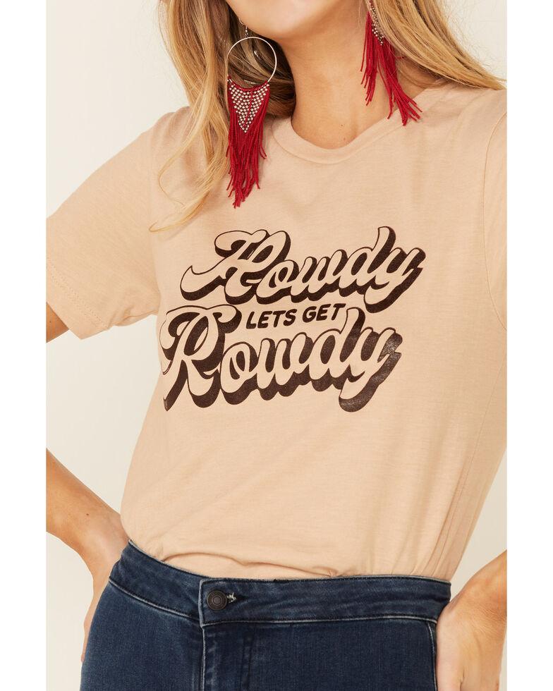 Ali Dee Women's Howdy Let's Get Rowdy Graphic Short Sleeve Tee , Tan, hi-res