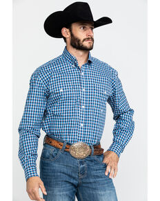 Roper Men's Amarillo Americana Check Plaid Long Sleeve Western Shirt , Blue, hi-res