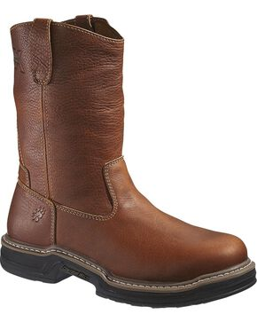 Wolverine Men's Raider Steel Toe Wellington Work Boots, Brown, hi-res
