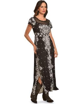 Bila Women's Black Off The Shoulder Crinkle Dress , Black, hi-res