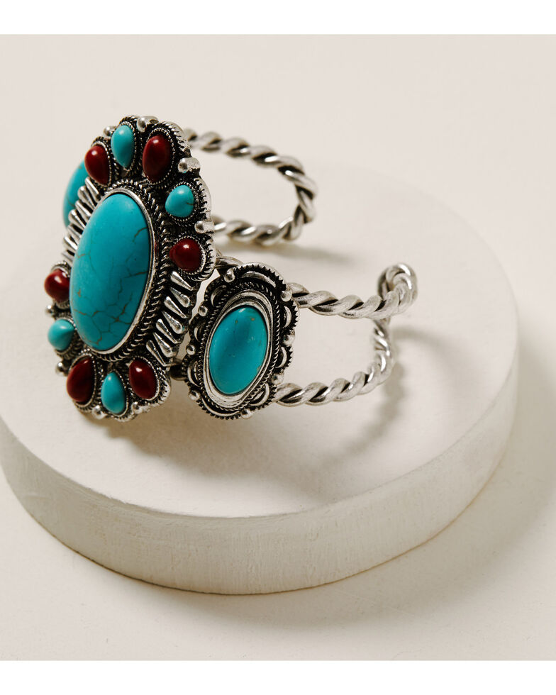 Shyanne Women's Wild Soul Large Turquoise & Red Cuff Bracelet, Silver, hi-res