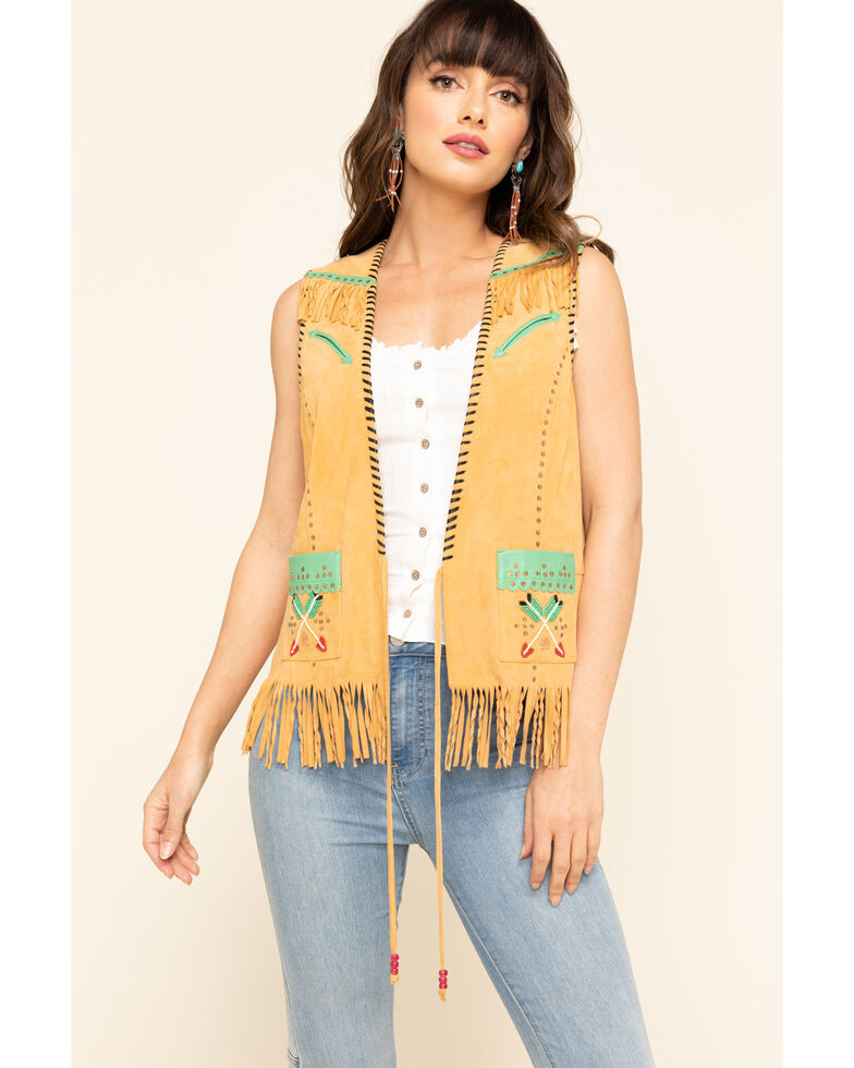 Double D Ranch Women's Circus Rodeo Vest, Mustard, hi-res