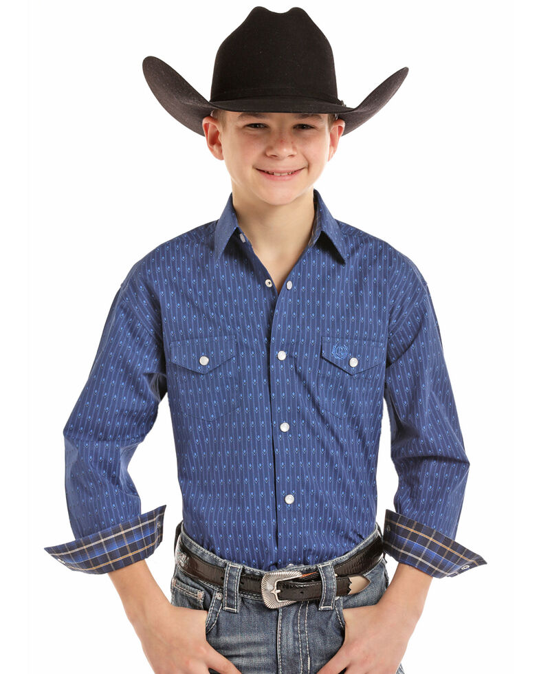 Panhandle Select Boys' Blue Brushed Geo Print Long Sleeve Western Shirt , Light Blue, hi-res
