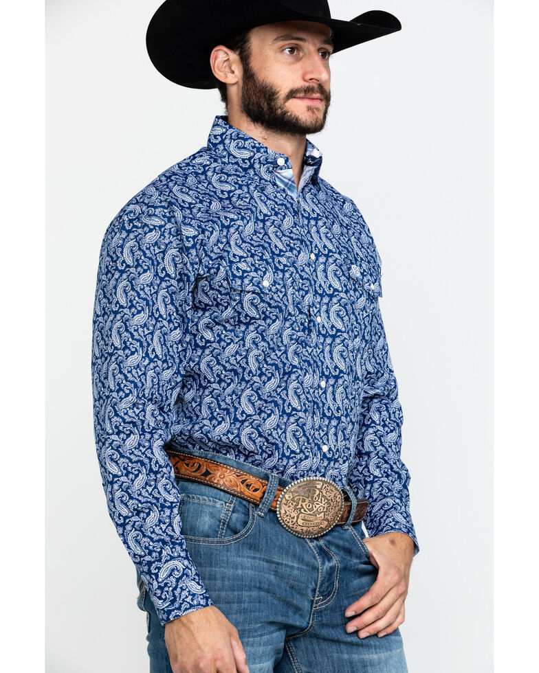 George Strait By Wrangler Men's Navy Paisley Print Long Sleeve Western Shirt , Navy, hi-res