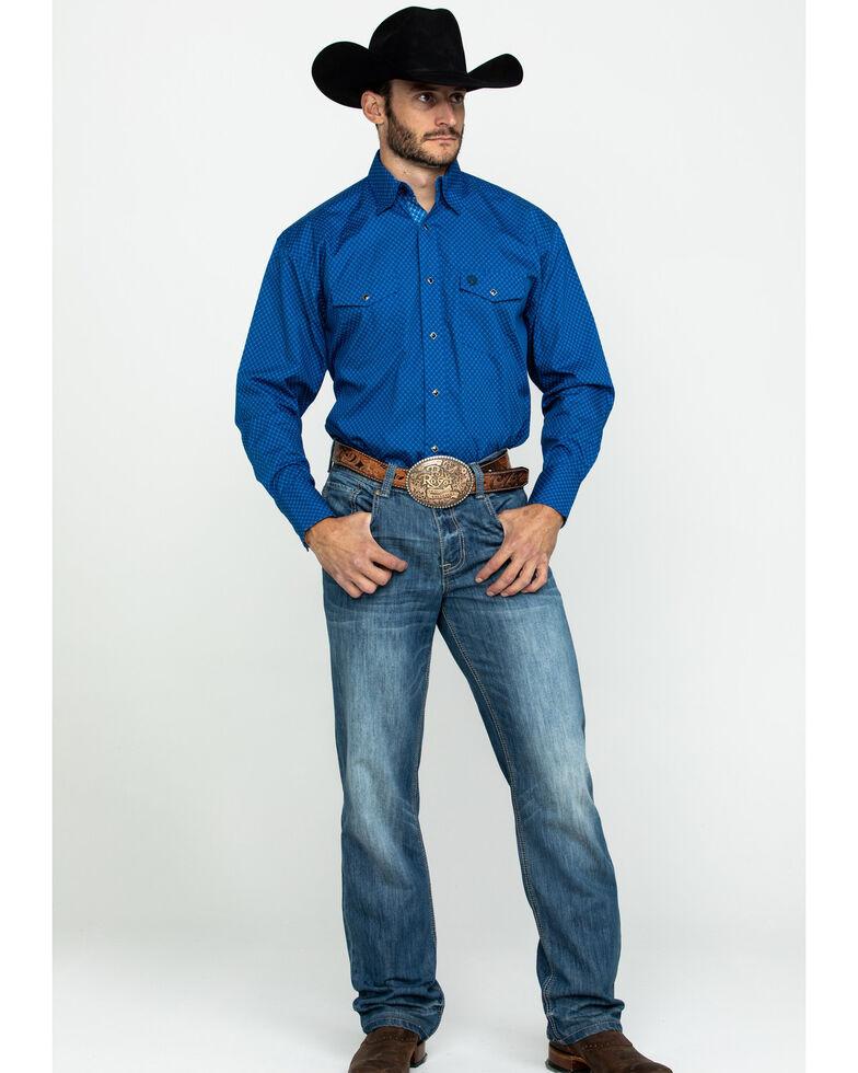 George Strait By Wrangler Men's Blue Dot Geo Print Long Sleeve Western Shirt , Blue, hi-res