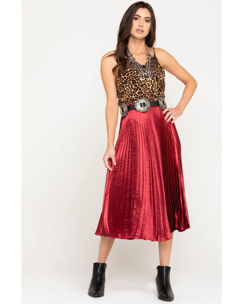Nikki Erin Women's Satin Pleated Midi Skirt, Burgundy, hi-res