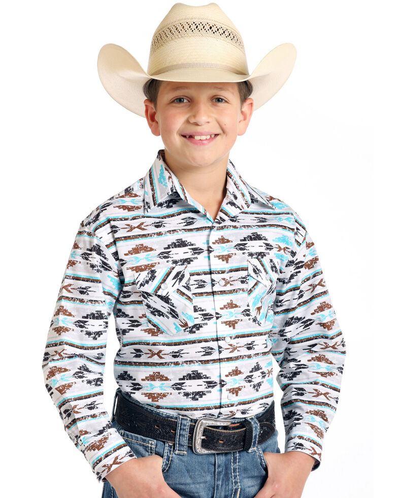 Rough Stock By Panhandle Boys' Seneca Aztec Print Long Sleeve Western Shirt , Multi, hi-res