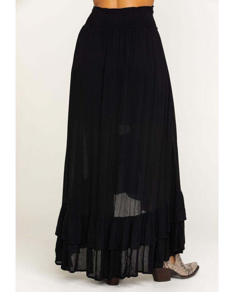 Shyanne Women's Black Lace Trim Maxi Skirt , Black, hi-res