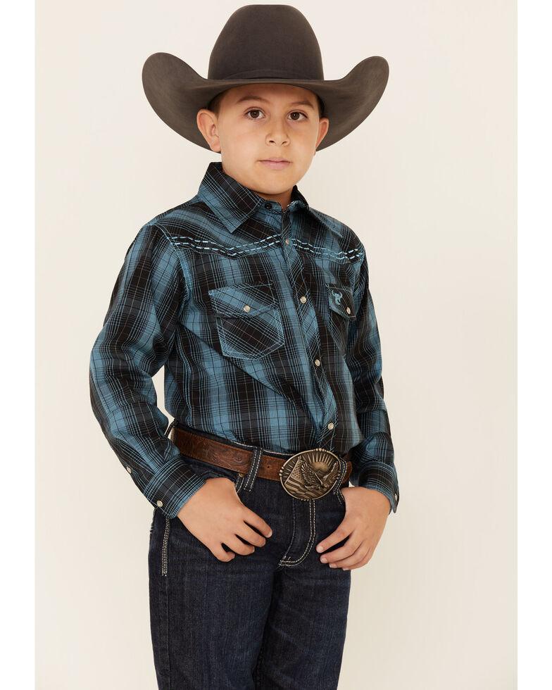 Cowboy Hardware Boys' Turquoise Plaid Long Sleeve Western Shirt , Turquoise, hi-res