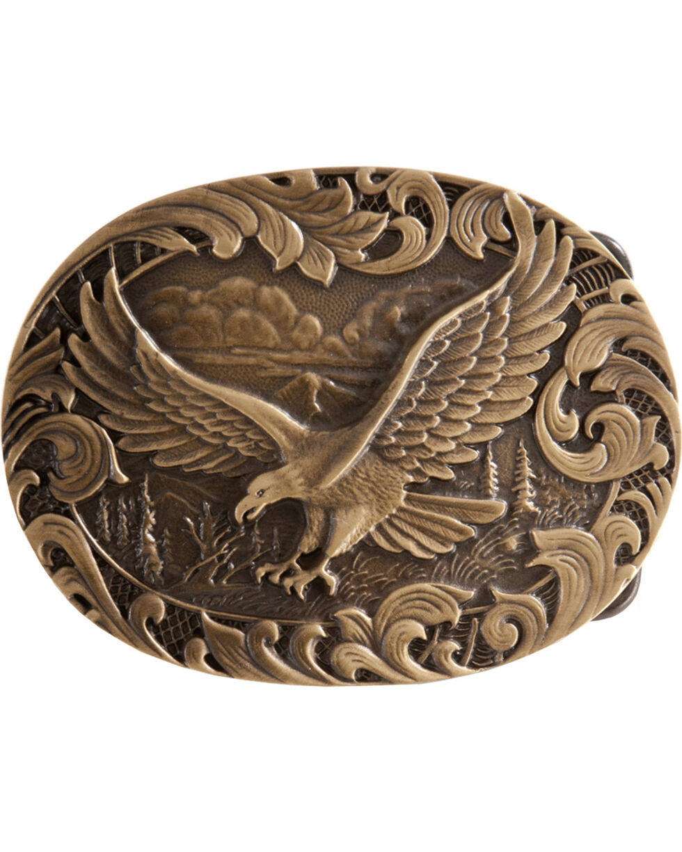 Montana Silversmiths Soaring Eagle Belt Buckle, Brass, hi-res