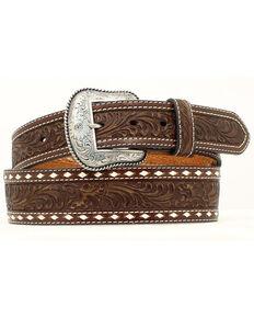 Nocona Belt Co. Men's Tooled Leather Belt, Brown, hi-res