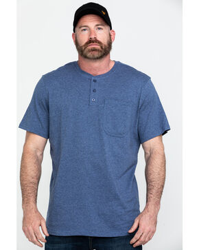 Hawx Men's Pocket Henley Short Sleeve Work T-Shirt , Heather Blue, hi-res